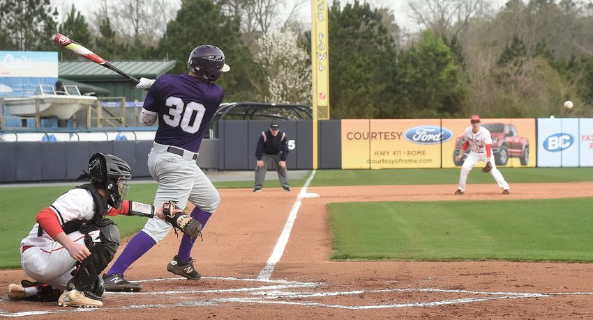 Cartersville senior Jordan Wilkie singles during a game against Pepperell earlier this season at State Mutual Stadium in Rome. The Canes will begin their trek to return to the Class 4A state championship series, which took place at State Mutual last season and could again this year, after finishing runner-up in 2018 with a first-round matchup against Oconee County Wednesday at Richard Bell Field.