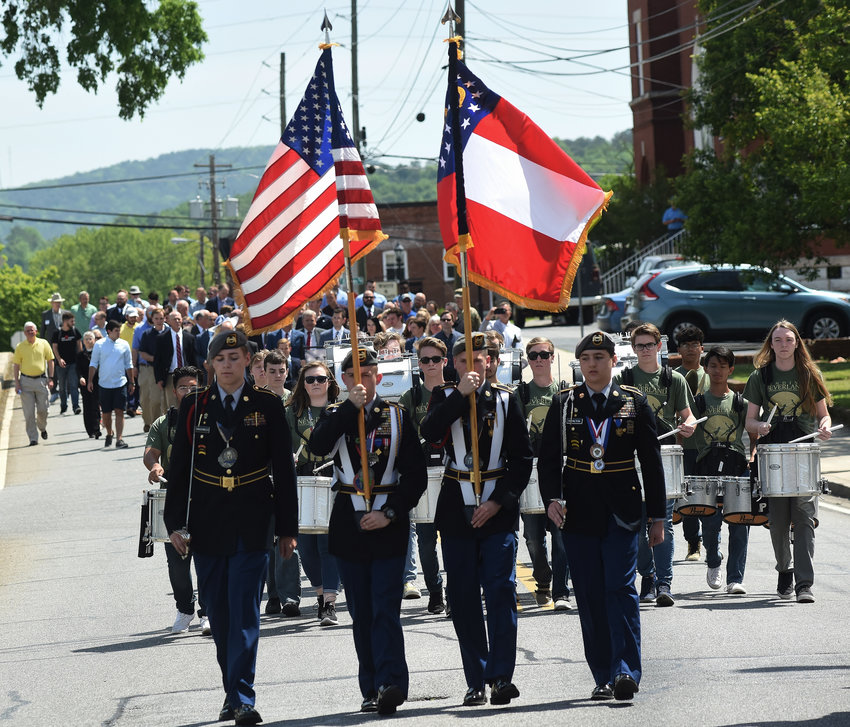 A large crowd marched from Sam Jones Memorial United Methodist Church to the Frank Moore Administration and Judicial Center for the 2018 National Day of Prayer ceremony.