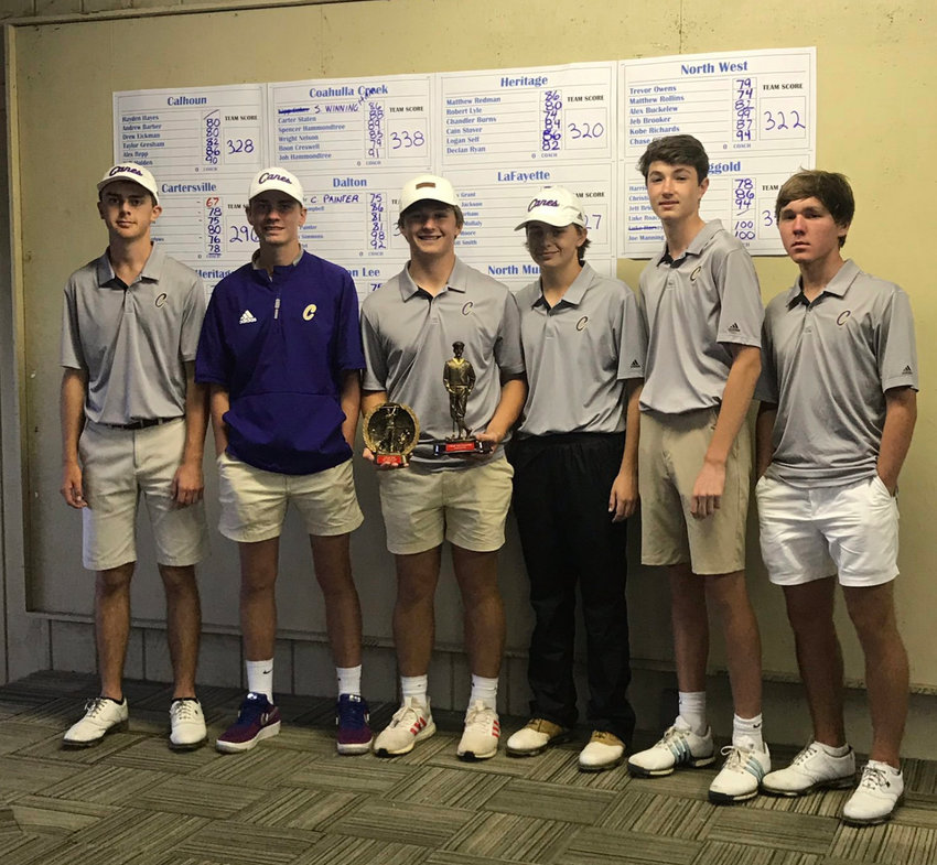 The Cartersville High golf team shot its best round of the season for a first-place finish at the 5-Star Invitational Thursday at Windstone Golf Club in Ringgold. The Canes narrowly edged out Christian Heritage by two strokes. The top scores for Cartersville were low medalist and Georgia commit Buck Brumlow with a 67, Carson Harris with a 75, Camden Meadows with a 76 and Dalton Henson and Jake Lawson each shot a 78.