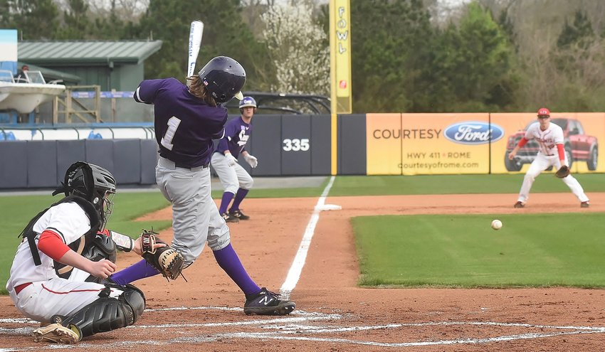 Cartersville senior Kolby Adams singles during a game earlier this season against Pepperell at State Mutual Stadium in Rome. Adams came up with clutch plays at the plate and in the field to lead the Canes to a sweep of Flowery Branch in the Class 4A state second round Thursday at Richard Bell Field.