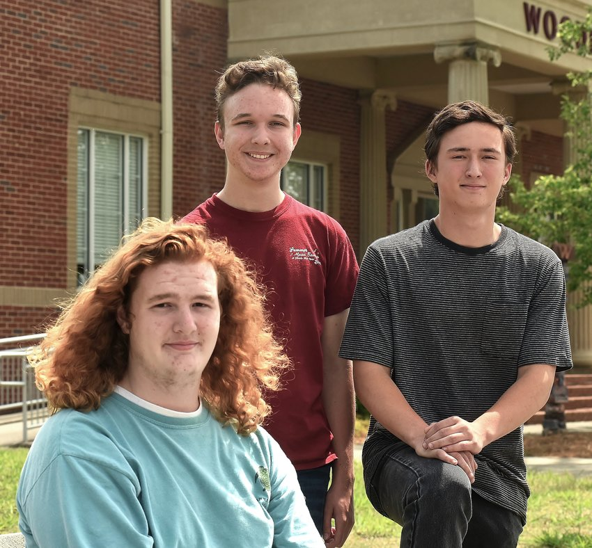 Woodland High School juniors Billy Evans, left, and Calvin Stovall, center, and sophomore Bradley Lorren have been selected finalists for the 2019 Georgia Governor's Honors Program.