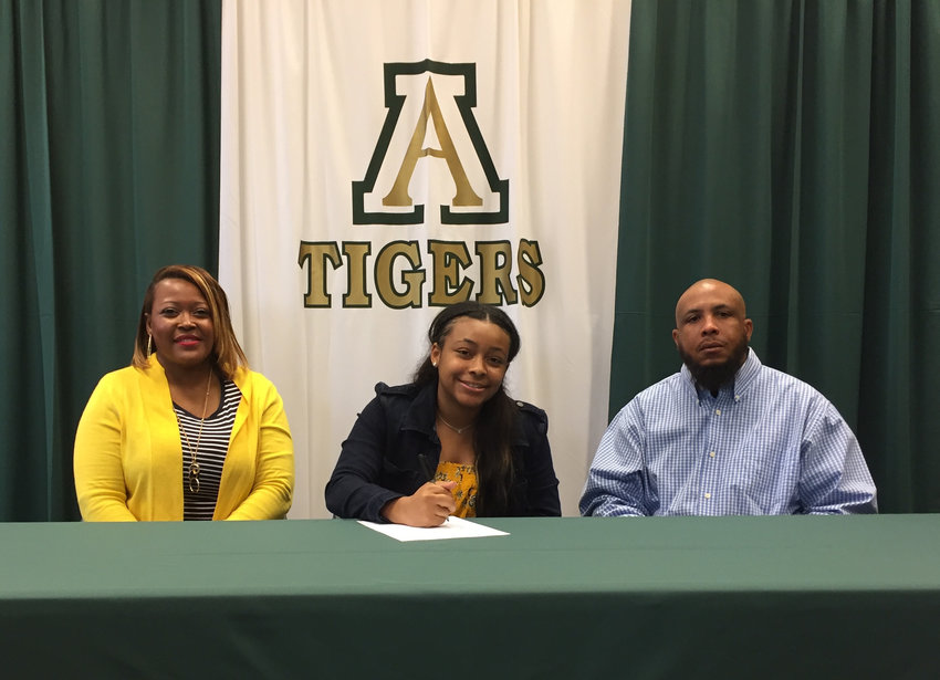 Adairsville senior Coriana McDaniel recently signed to play basketball at Andrew College in Cuthbert. On hand for the signing were her parents Dana and Corey McDaniel.