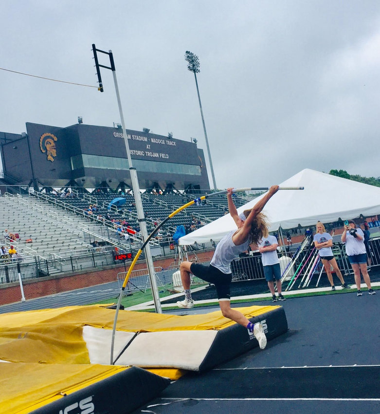 Cass senior Stephen Smith competes in the pole vault at the Class 5A track and field state championships at Carrollton. Smith successfully defended his state title in the event, topping out at 15 feet, 6 inches on Friday to end his Colonels career with a pair of 5A championships.