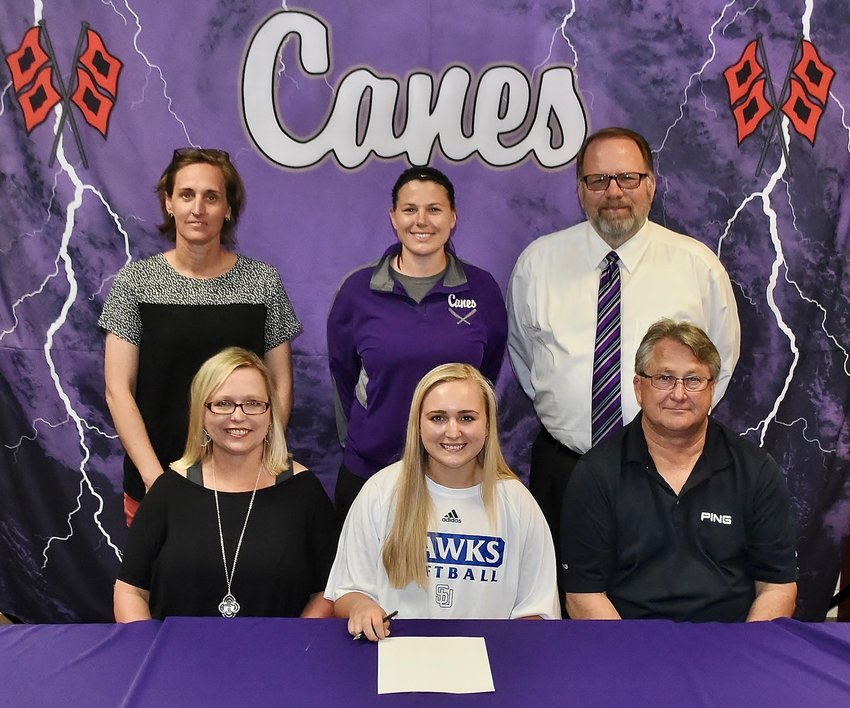 Cartersville High senior Colbi Ballard signed to play softball at Shorter University in Rome. On hand for the ceremony were, from left, front row: April Ballard, mother; Dennis Ballard, father; back row, Shelley Tierce, CHS principal; Shannon Suarez, CHS softball coach; and Darrell Demastus, CHS athletic director.