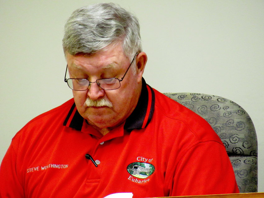 Euharlee Mayor Steve Worthington presides over Tuesday evening's city council meeting.