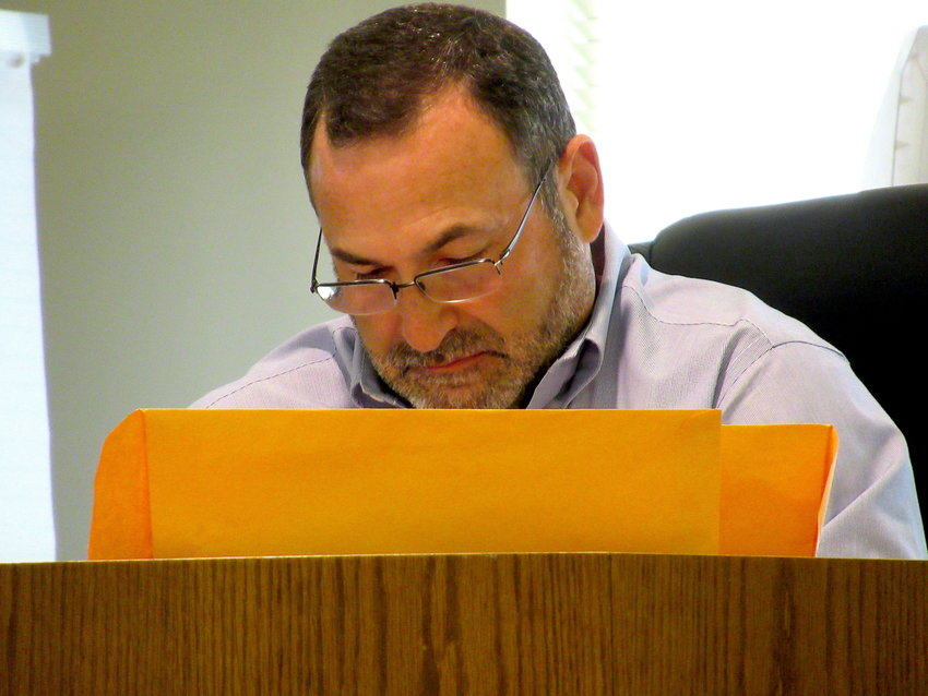City of Cartersville Planning and Development Director Randy Mannino goes over notes at Tuesday evening's planning commission meeting.