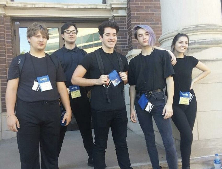 Cass High theater students, from left, Max McCauley, Tyler Rawlins, Austin Williams, Andrew Pitts and Anna Boughton were five of the 10 members who earned the right to compete in the Group Acting Performance individual events at the International Thespians Festival last week.