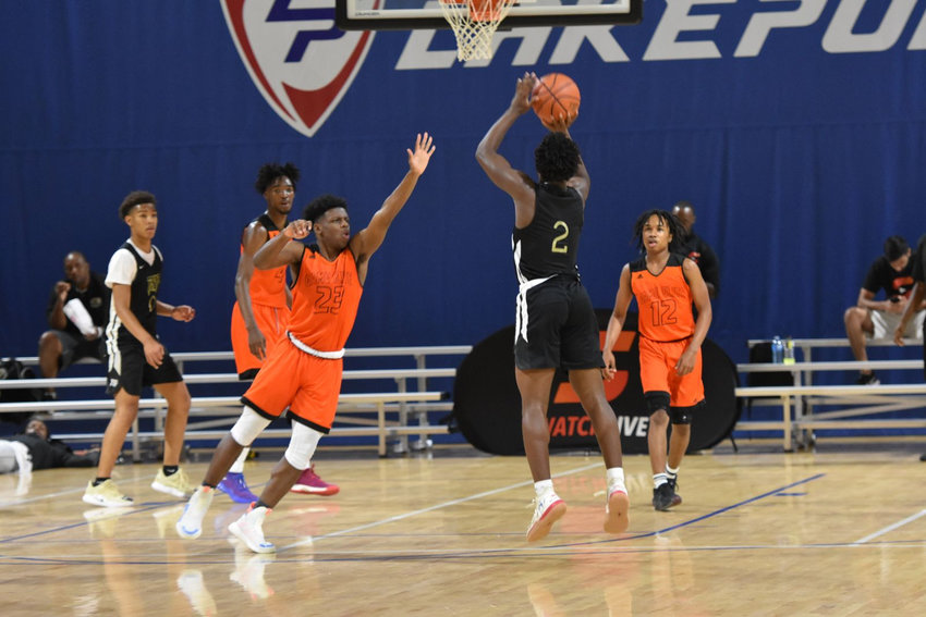 Bruce Thornton Jr. (2) attempts a shot during the Battle for Georgia Sunday inside LakePoint's Champions Center. Thornton won MVP honors in leading TSF Mack to the 15U division crown.