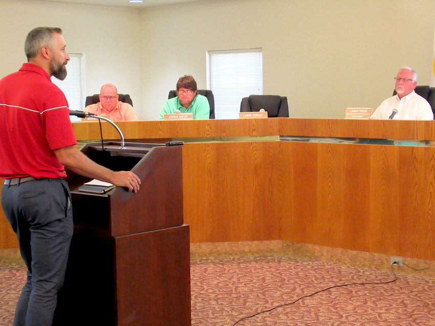 Nathan Sanders, lead pastor of LifePoint Church, speaks at Tuesday evening's Cartersville Planning Commission meeting.