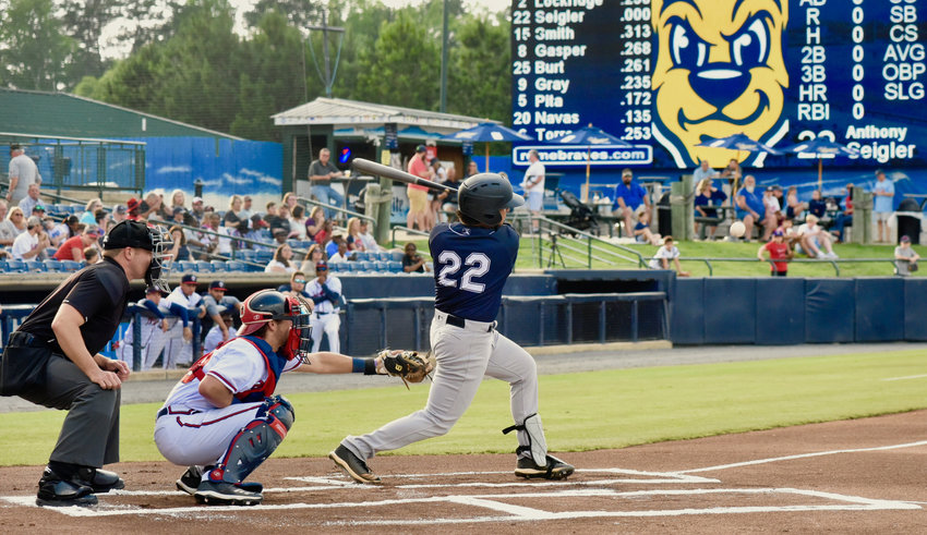 Cartersville High grad Anthony Seigler follows through on a swing during a game this season for the Charleston RiverDogs against the Rome Braves at State Mutual Stadium in Rome. It was announced this week that Seigler would miss the remainder of the 2019 season with a knee injury.