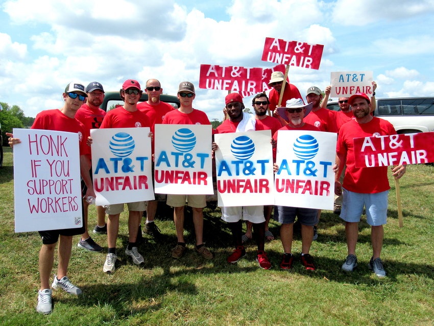 Workers demonstrated outside an AT&T facility off U.S. 411 in Bartow County Saturday, joining thousands of union workers across the southeastern United States who went on strike over the weekend.