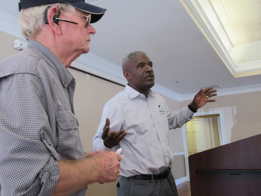 Dr. Robert Poston, left, and Roger Marshall spoke about services for military veterans experiencing PTSD symptoms at a presentation in Cartersville Wednesday afternoon.