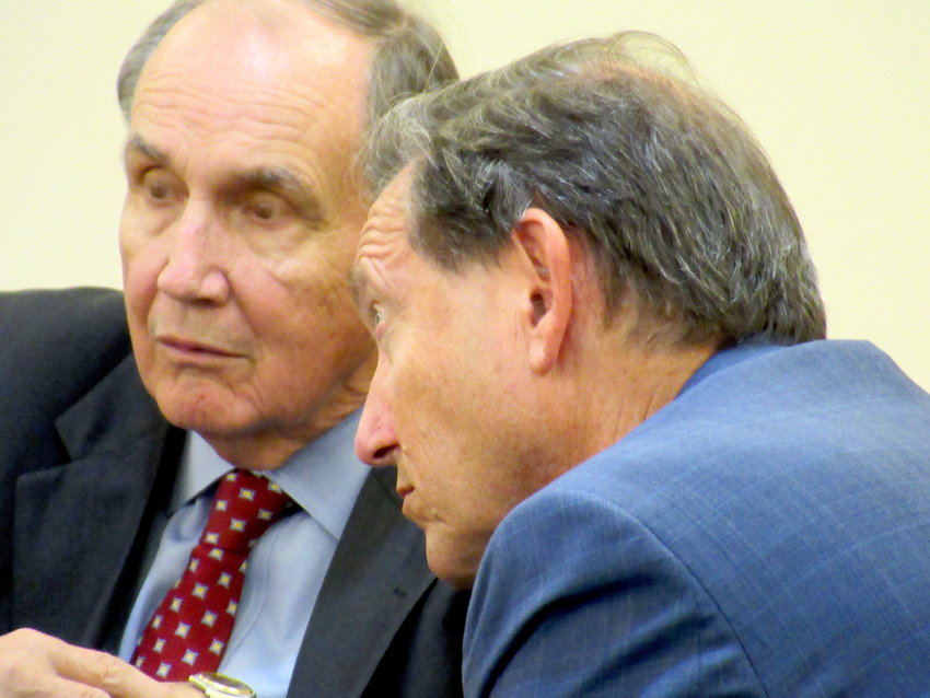 From left, legal counsel David Flint and Atlantic Realty Partners CEO Richard Aaronson at Tuesday evening's Cartersville Planning Commission meeting.