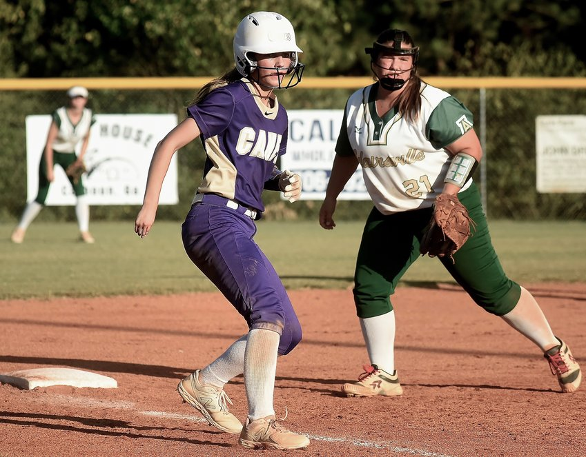 Cartersville freshman Campbell Rogers takes a lead off third base on a pitch during Wednesday's game at Adairsville.