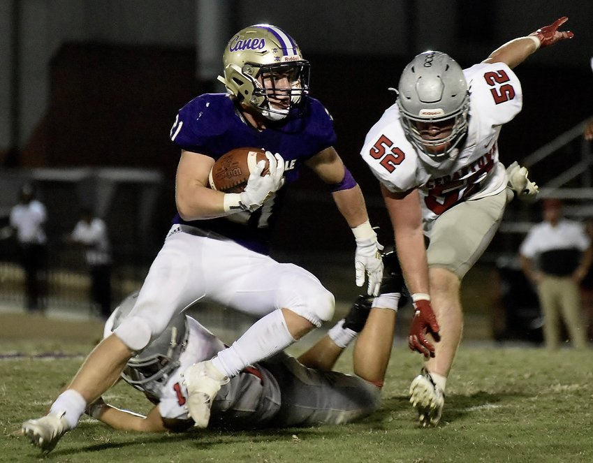 Cartersville sophomore Jake Brasfield heads upfield against Cedartown Friday at Weinman Stadium. Brasfield could be the Canes' starting running back next week with Quante Jennings and Harrison Allen both dealing with injuries. With both players banged up this week, Brasfield scored two touchdowns.