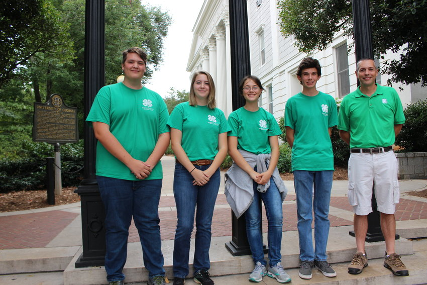 Taking home third place from the 2019 State Forestry Field Day last month were Bartow County 4-H members, from left, Gabriel Craven, Bethany Craven, Sasha Morgan and Gus Federico and their coach, Paul Pugliese.