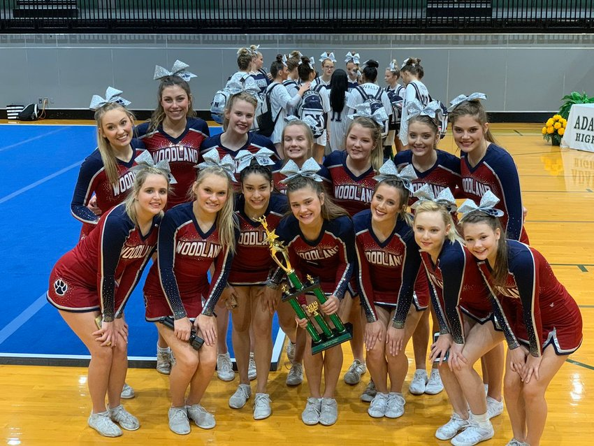 The Woodland High cheerleading team took first place at Adairsville High on Saturday. The Wildcats remain undefeated on the year.