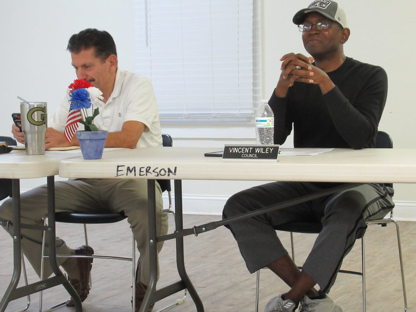 From left, Emerson Mayor Al Pallone and Emerson City Councilman Vincent Wiley at Monday evening's public meeting.