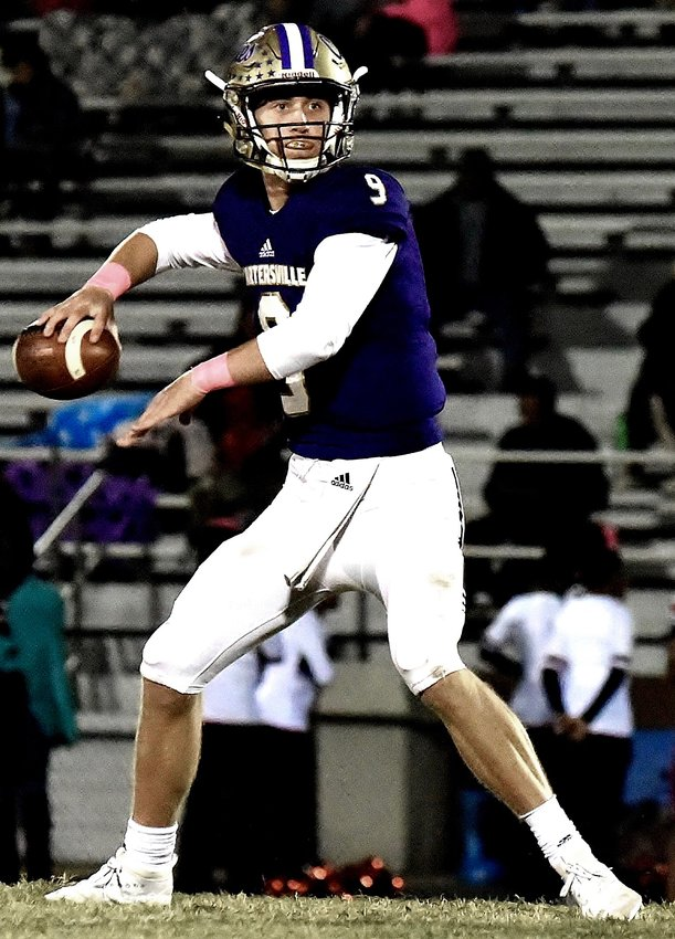 Cartersville senior quarterback Tee Webb prepares to throw against Sandy Creek in an Oct. 18 home game. The Canes will look to close the regular season with a victory over Troup County this week at Callaway Stadium in LaGrange.