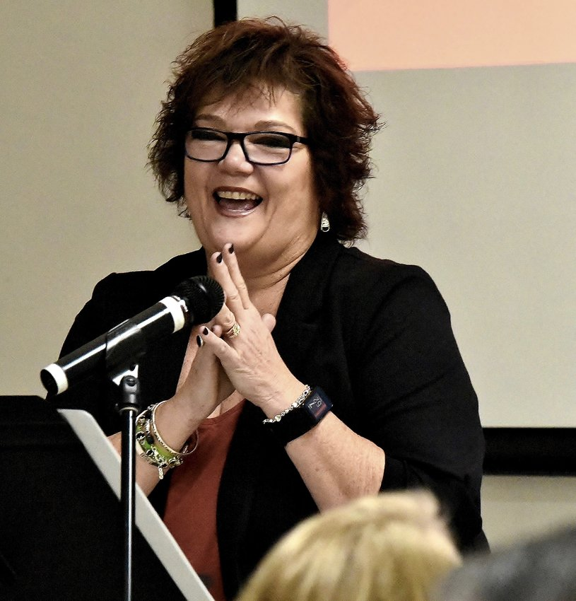 Adairsville City Manager Pam Madison speaks at Thursday morning's Cartersville-Bartow County Chamber of Commerce event at NorthPointe Church.