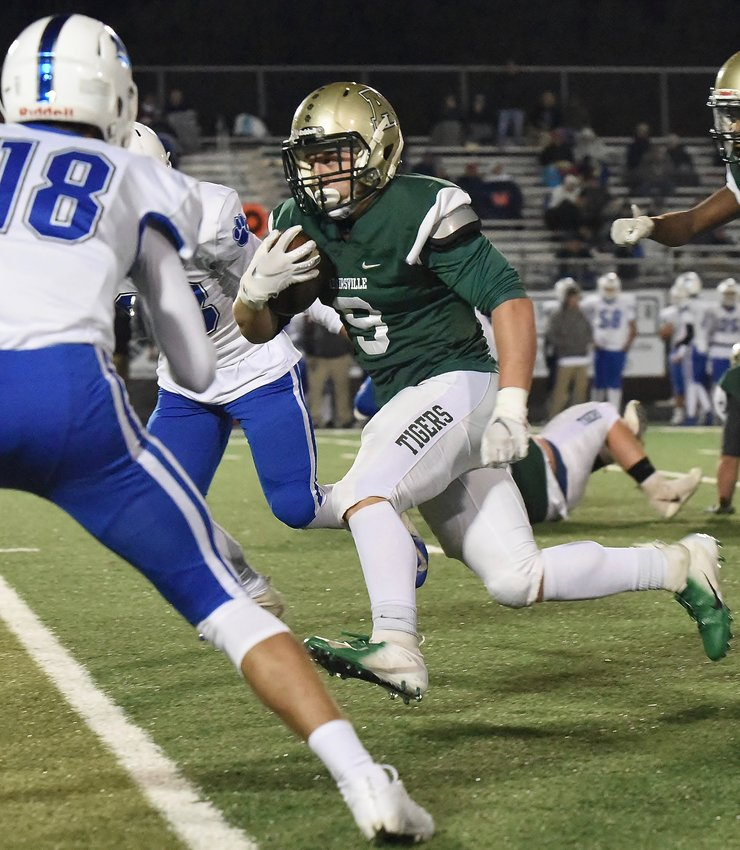 Adairsville sophomore Eli Agnew heads upfield against Ringgold during the Tigers' final game of the regular season Nov. 1. Adairsville will face Jenkins in the first round of the Class 3A state playoffs at 7:30 p.m. Friday in Savannah State's T.A. Wright Stadium.