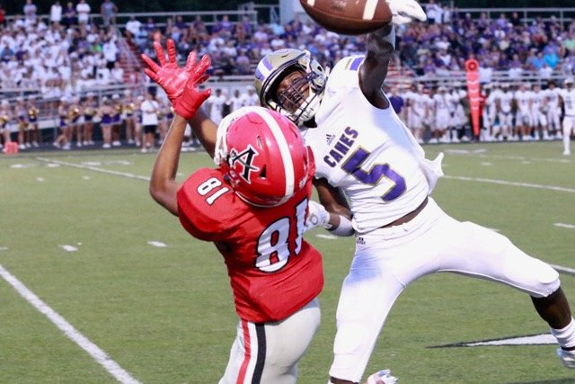 Cartersville junior Devonte Ross breaks up a pass intended for an Allatoona receiver during a game between the two teams on Aug. 23. On Wednesday, Ross was named the Ironman Award recipient, given to the best two-way player in Region 5-AAAA. He shared the award with Alabama commit and Sandy Creek senior Brian Branch.