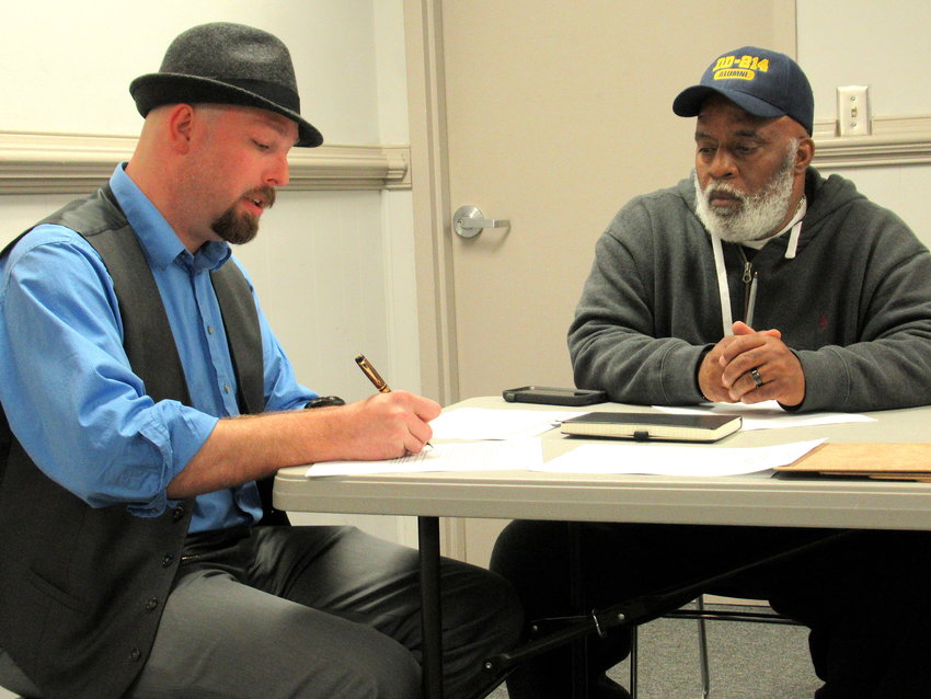 From left, Bartow County Elections Supervisor Joseph Kirk and Bartow County Board of Elections and Voter Registration member Dexter Benning at Friday's public meeting.