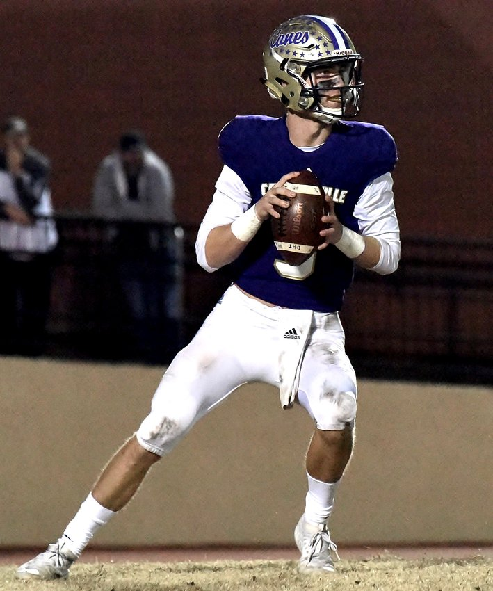 Cartersville senior quarterback Tee Webb drops back to pass against Woodward Academy during a Class 4A state quarterfinal Friday at Weinman Stadium. Webb was 19-for-36 passing for 266 yards and two touchdowns in his final game for the Canes.