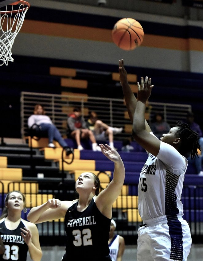 Lehla Thomas scores two of her 16 points in Cartersville's home victory over Pepperell Saturday.