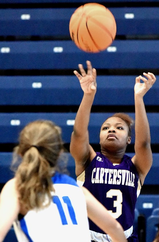 Cartersville's Kiera Milline shoots during Thursday's game against Model in the Seven Hills Rotary/Rome News-Tribune Christmas Tournament in Rome.