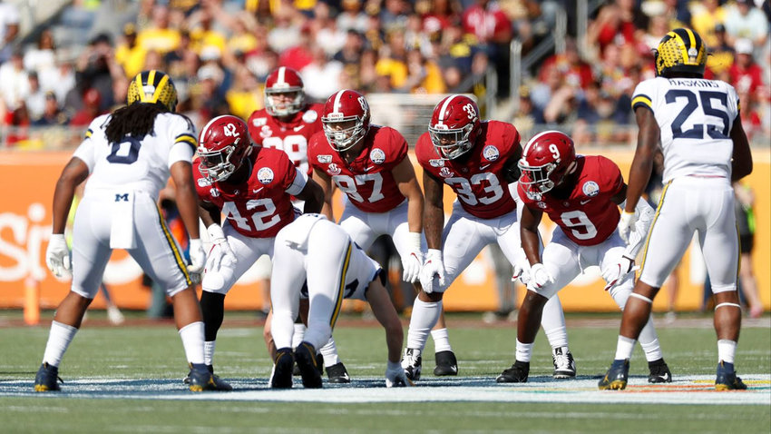 Alabama redshirt junior and Cartersville High graduate Miller Forristall (87) lines up alongside his teammates during a punting situation against Michigan in the Citrus Bowl Jan. 1 in Orlando, Florida.