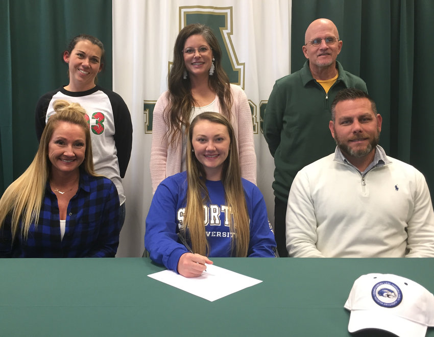 Adairsville senior Alexa Varner signed recently to play softball at Shorter University in Rome. On hand for the ceremony were, from left, front row: Kristie Varner, mother; Josh Varner, father; back row, Kandace Bruno, AHS assistant coach; Amanda Nelson, AHS head coach; and Ben Higginbotham, AHS assistant coach.