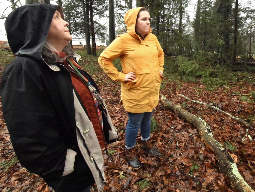 Keep Bartow Beautiful Executive Director Sheri Henshaw, left, and Katie Gobbi, director of the Euharlee Welcome Center & History Museum, survey the damage to Euharlee's Black Pioneers Cemetery caused by the Jan. 11 storm.
