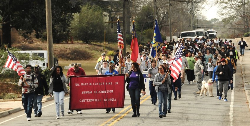 The annual King Holiday Weekend celebration in Cartersville includes a Brotherhood March Monday, Jan. 20, from the Cartersville Civic Center to the Frank Moore Administration and Judicial Center, then back to the Civic Center.