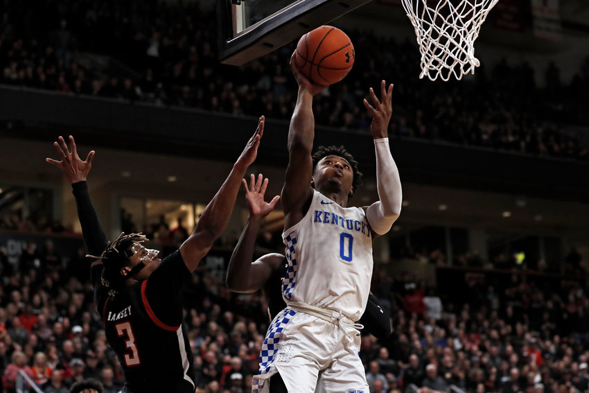 Kentucky's Ashton Hagans lays up the ball during the first half of a game against Texas Tech Saturday in Lubbock, Texas.