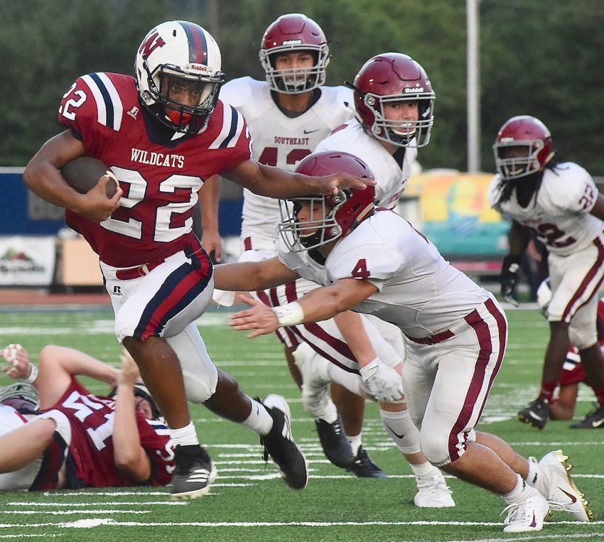 Woodland sophomore Asa James breaks a tackle en route to a touchdown against Southeast Whitfield in last fall's season opener. James and Co. will open the 2020 season Aug. 21 at Gordon Central.