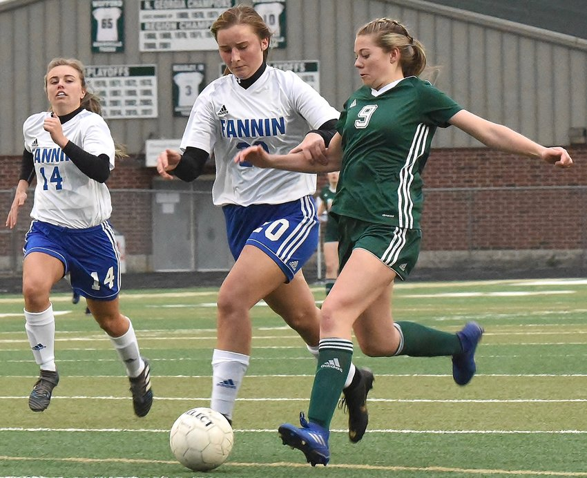 Taylor Rhoades (9) scored the lone goal in the Tigers' 1-0 win over Fannin County Wednesday at Tiger Stadium.