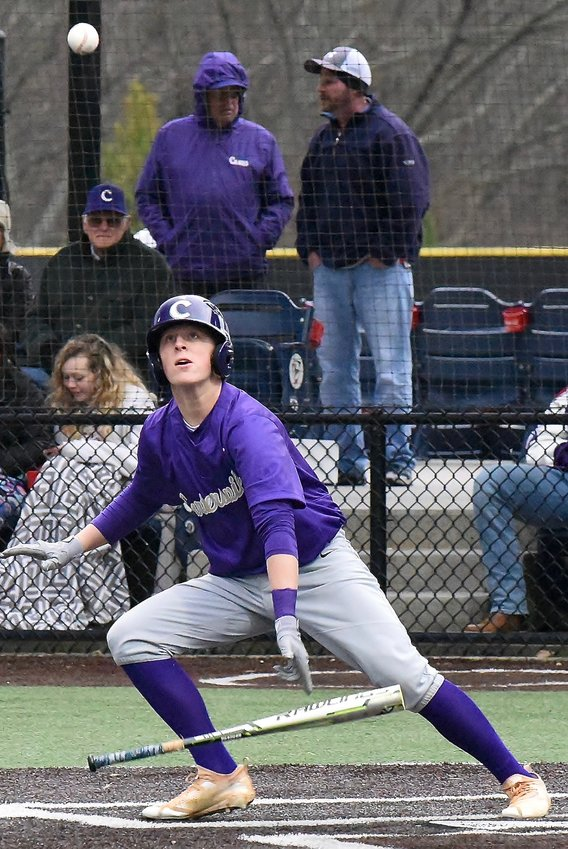 Cartersville catcher Hank Smith watches his bunt bounce off the turf during the Canes' game against Etowah at LakePoint Feb. 13. Cartersville is the defending champ of the Battle for Bartow Baseball Classic, which will be played for the second year, beginning today at LakePoint.