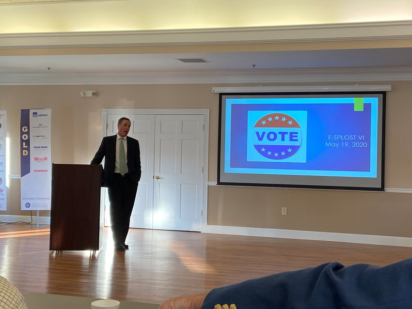 Bartow County Schools Superintendent Dr. Phillip Page   goes over a PowerPoint presentation on renewing the Special Purpose Local Option Sales Tax  in May.