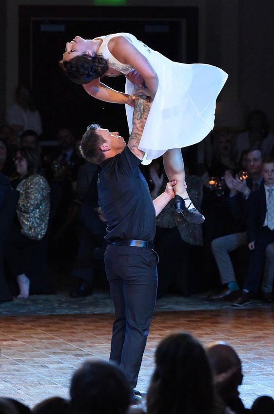 Herod and Maggie Moore, who tied with Matt Williams and Kim Millsap for the Judges' Choice Award with a perfect 30, perform their lyrical/West Coast Swing routine at Saturday's Dances With the Stars at the Clarence Brown Conference Center.