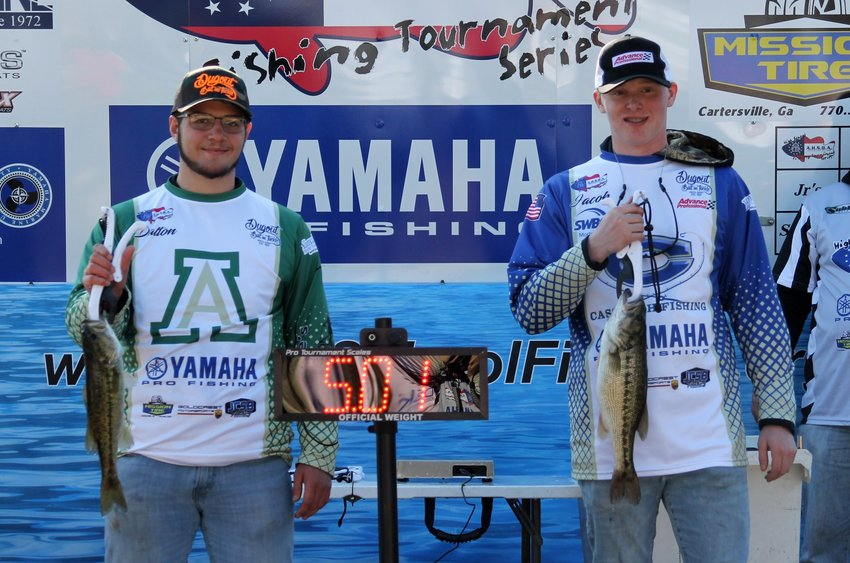 Adairsville's Dalton Cornett, left, and Cass' Jacob Cline show off the fish they caught during an Amateur High School Bass Anglers tournament Nov. 19, 2019, at Lake Lanier. The GHSA recently approved bass fishing as a sanctioned sport, beginning with the 2020-21 school year, but at this point, it doesn't appear any public schools in Bartow County will participate in the inaugural season.