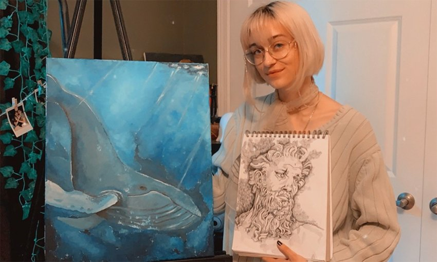 Julia Belew of Adairsville has nine pieces of art in Georgia Highlands College's annual art exhibition, which is online this year.