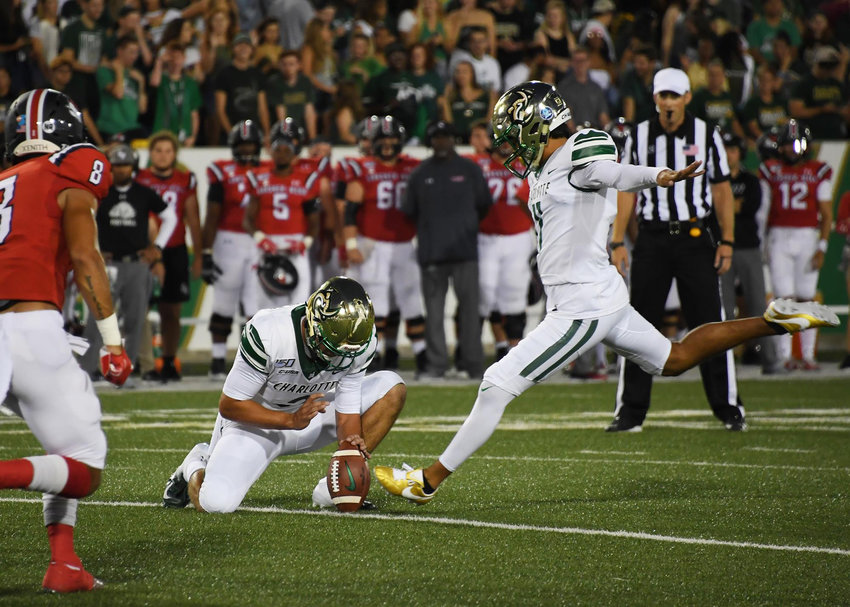 Former Cartersville High and current Charlotte kicker Jonathan Cruz converts an extra point attempt in a season-opening win over Gardner-Webb Aug. 29, 2019, in Charlotte.