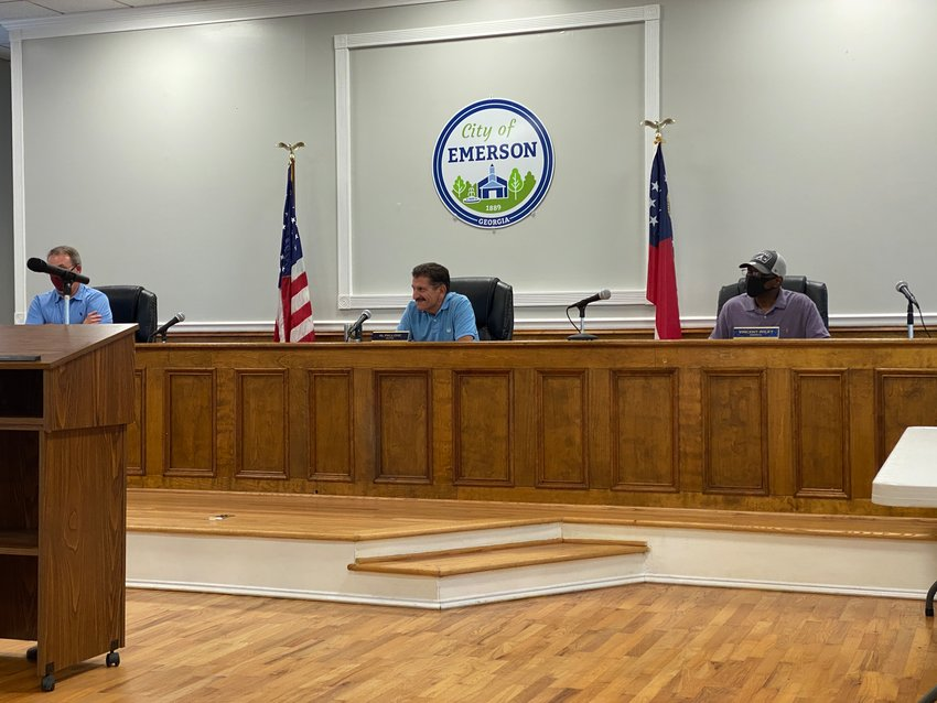 Members of the Emerson City Council convene for Monday night's public meeting.