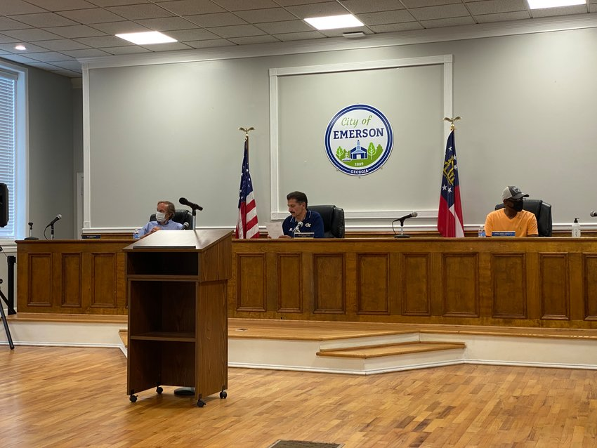 Members of the Emerson City Council gather for Monday evening's special-called public meeting.