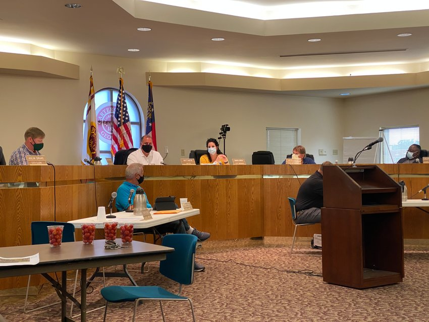 Members of the Cartersville City Council gather for Thursday evening's public meeting.