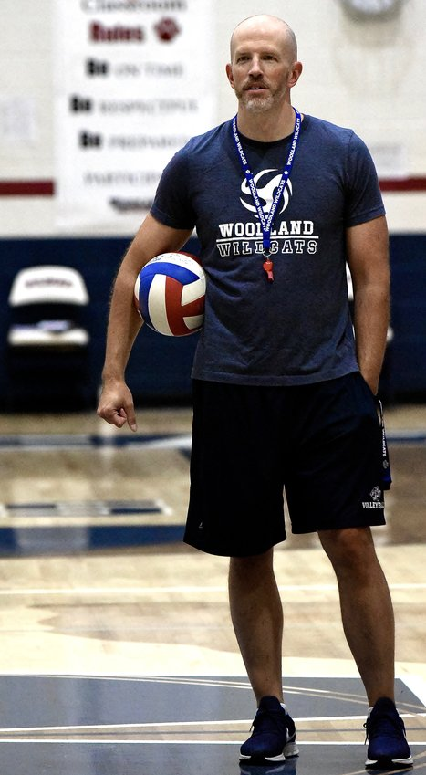 Woodland head volleyball coach David Condon watches his team during practice Friday.