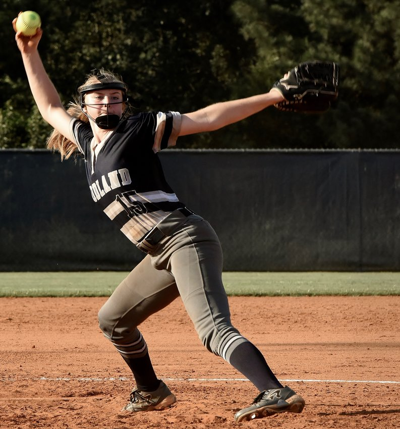Woodland junior Lainey Baker pitches against Cass during the opener of a Region 7-AAAAA doubleheader Tuesday at home. Baker tossed a shutout in Game 1 but took the loss in the second contest. At the plate, she finished 2-for-5 with a home run, a walk and three RBIs across the two games.