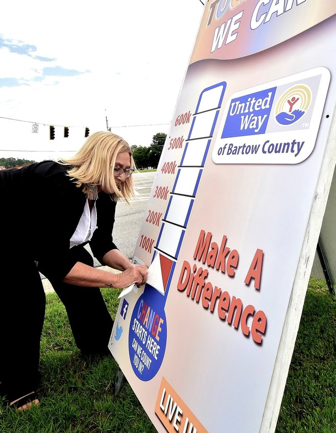 United Way of Bartow County President Brenda Morehouse affixes a current total sticker to the organization's campaign thermometer sign on Main Street in Cartersville Thursday.