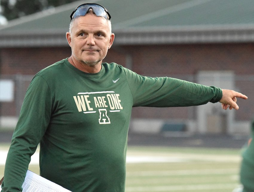 Adairsville head football coach Eric Bishop directs his team during a preseason scrimmage Friday.